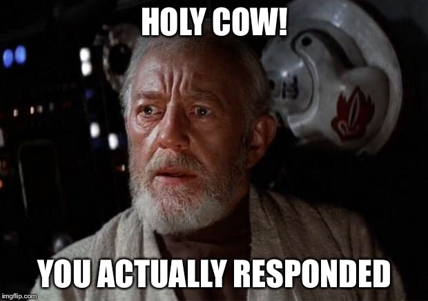 Surprised | HOLY COW! YOU ACTUALLY RESPONDED | image tagged in surprise obi wan,star wars,obi wan kenobi,surprised | made w/ Imgflip meme maker