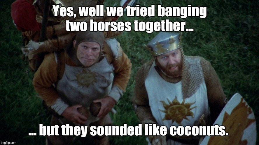 And not even an African swallow could carry a horse!  | Yes, well we tried banging two horses together... ... but they sounded like coconuts. | image tagged in monty python swallow scene | made w/ Imgflip meme maker