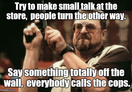 Am I The Only One Around Here Meme | Try to make small talk at the store,  people turn the other way. Say something totally off the wall,  everybody calls the cops. | image tagged in memes,am i the only one around here | made w/ Imgflip meme maker