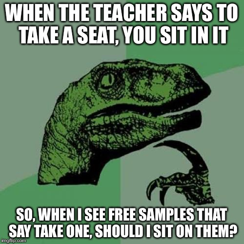 Philosoraptor | WHEN THE TEACHER SAYS TO TAKE A SEAT, YOU SIT IN IT SO, WHEN I SEE FREE SAMPLES THAT SAY TAKE ONE, SHOULD I SIT ON THEM? | image tagged in memes,philosoraptor | made w/ Imgflip meme maker