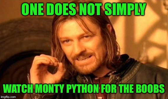 One Does Not Simply Meme | ONE DOES NOT SIMPLY WATCH MONTY PYTHON FOR THE BOOBS | image tagged in memes,one does not simply | made w/ Imgflip meme maker