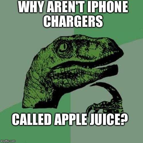 Philosoraptor | WHY AREN'T IPHONE CHARGERS CALLED APPLE JUICE? | image tagged in memes,philosoraptor | made w/ Imgflip meme maker