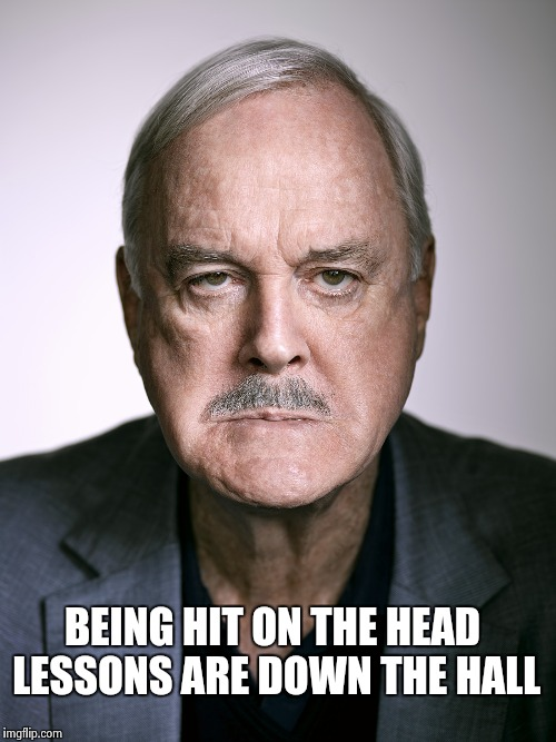 John Cleese | BEING HIT ON THE HEAD LESSONS ARE DOWN THE HALL | image tagged in john cleese | made w/ Imgflip meme maker