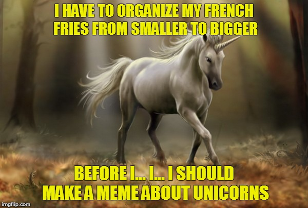 OCD - It's a b##ch | I HAVE TO ORGANIZE MY FRENCH FRIES FROM SMALLER TO BIGGER BEFORE I... I... I SHOULD MAKE A MEME ABOUT UNICORNS | image tagged in memes,ocd,unicorn | made w/ Imgflip meme maker