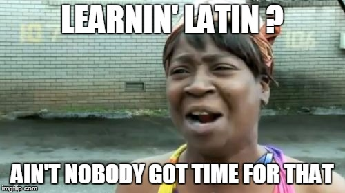 Aint Nobody Got Time For That Meme | LEARNIN' LATIN ? AIN'T NOBODY GOT TIME FOR THAT | image tagged in memes,aint nobody got time for that | made w/ Imgflip meme maker