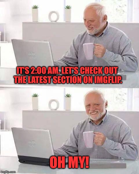 It's a whole different beast. | IT'S 2:00 AM. LET'S CHECK OUT THE LATEST SECTION ON IMGFLIP. OH MY! | image tagged in memes,hide the pain harold | made w/ Imgflip meme maker