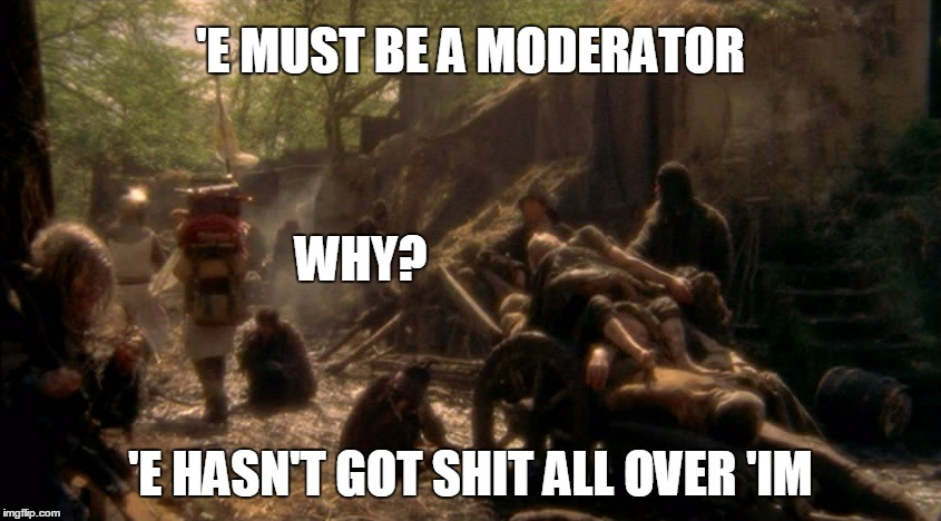 'E MUST BE A MODERATOR 'E HASN'T GOT SHIT ALL OVER 'IM WHY? | made w/ Imgflip meme maker