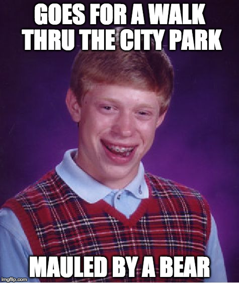 Bad Luck Brian Meme | GOES FOR A WALK THRU THE CITY PARK MAULED BY A BEAR | image tagged in memes,bad luck brian | made w/ Imgflip meme maker