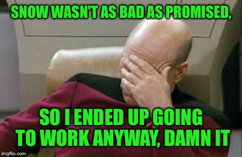 Captain Picard Facepalm Meme | SNOW WASN'T AS BAD AS PROMISED, SO I ENDED UP GOING TO WORK ANYWAY, DAMN IT | image tagged in memes,captain picard facepalm | made w/ Imgflip meme maker
