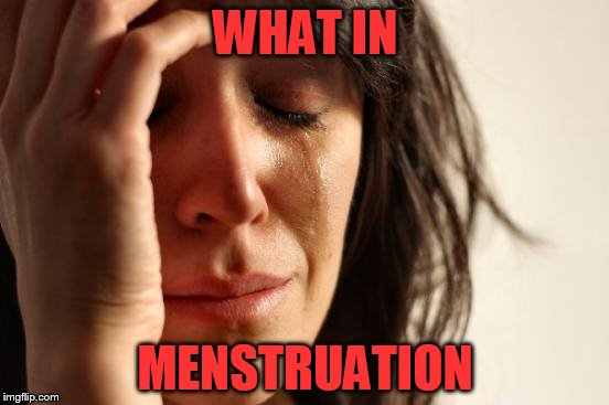 What in tarnation week! Yes I'm going there...for the ladies. | WHAT IN MENSTRUATION | image tagged in memes,first world problems,what in tarnation | made w/ Imgflip meme maker