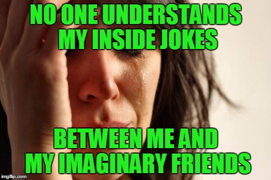 You had to be there I guess.... in my head that is. | NO ONE UNDERSTANDS MY INSIDE JOKES BETWEEN ME AND MY IMAGINARY FRIENDS | image tagged in memes,first world problems | made w/ Imgflip meme maker