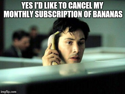 Banana phone | YES I'D LIKE TO CANCEL MY MONTHLY SUBSCRIPTION OF BANANAS | image tagged in memes | made w/ Imgflip meme maker