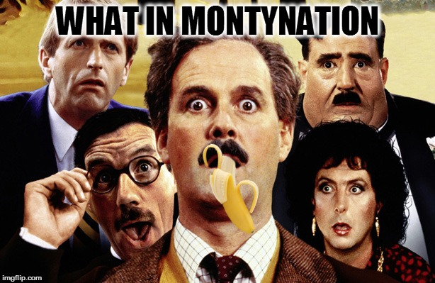 MontyPythonBananaWhatInTarnation Week - A carpetmom4chanUser69Santadude Event | WHAT IN MONTYNATION | image tagged in memes,monty python week,banana week,what in tarnation week | made w/ Imgflip meme maker