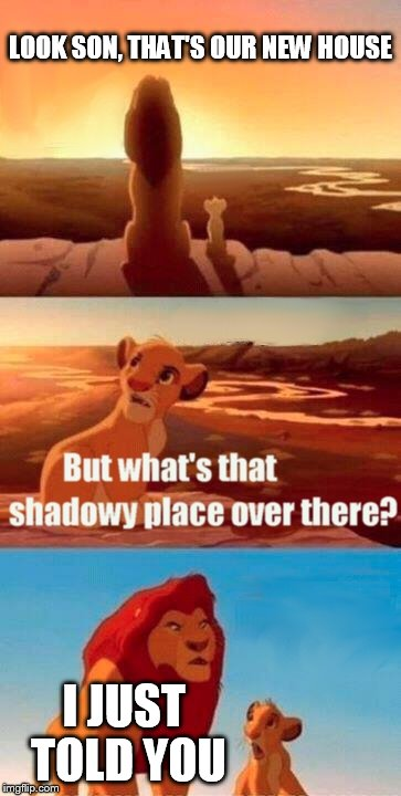 New home | LOOK SON, THAT'S OUR NEW HOUSE I JUST TOLD YOU | image tagged in memes,simba shadowy place | made w/ Imgflip meme maker