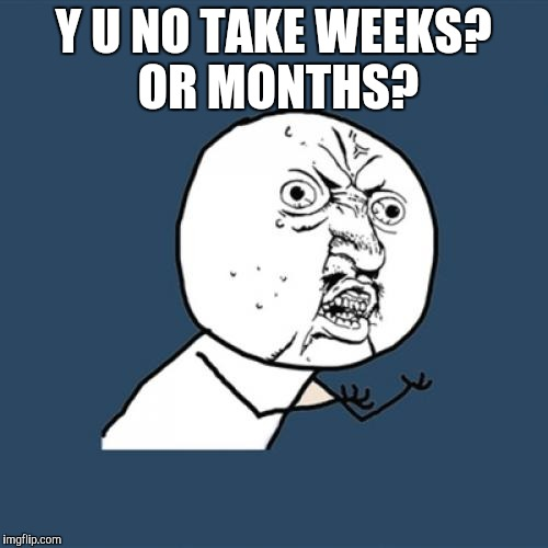 Y U No Meme | Y U NO TAKE WEEKS? OR MONTHS? | image tagged in memes,y u no | made w/ Imgflip meme maker