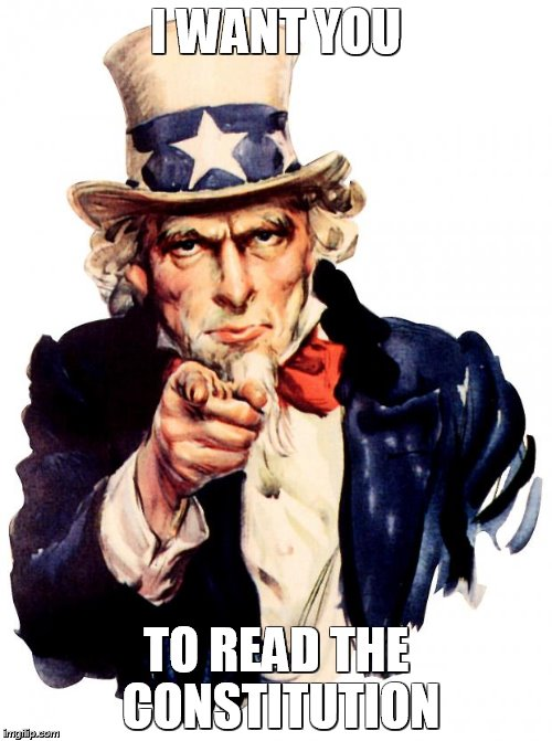 Uncle Sam | I WANT YOU TO READ THE CONSTITUTION | image tagged in memes,uncle sam,political meme | made w/ Imgflip meme maker