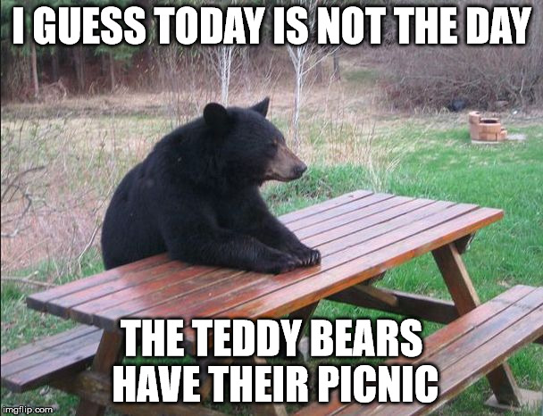 Bear picnic |  I GUESS TODAY IS NOT THE DAY; THE TEDDY BEARS HAVE THEIR PICNIC | image tagged in lonely bear,picnic bear | made w/ Imgflip meme maker