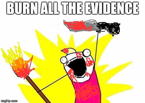 X All The Y Meme |  BURN ALL THE EVIDENCE | image tagged in memes,x all the y | made w/ Imgflip meme maker