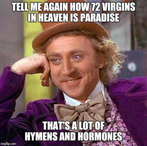 Sounds like a bloody nightmare  | TELL ME AGAIN HOW 72 VIRGINS IN HEAVEN IS PARADISE THAT'S A LOT OF HYMENS AND HORMONES | image tagged in memes,creepy condescending wonka,martyrs,not as fun as it sounds,virgins,72 virgins | made w/ Imgflip meme maker