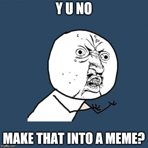Y U No Meme | Y U NO MAKE THAT INTO A MEME? | image tagged in memes,y u no | made w/ Imgflip meme maker