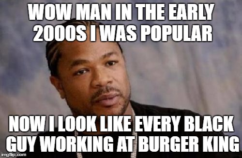 Serious Xzibit | WOW MAN IN THE EARLY 2000S I WAS POPULAR NOW I LOOK LIKE EVERY BLACK GUY WORKING AT BURGER KING | image tagged in memes,serious xzibit | made w/ Imgflip meme maker