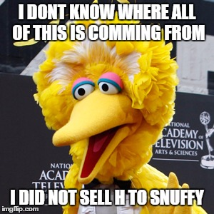 Big Bird | I DONT KNOW WHERE ALL OF THIS IS COMMING FROM I DID NOT SELL H TO SNUFFY | image tagged in memes,big bird | made w/ Imgflip meme maker