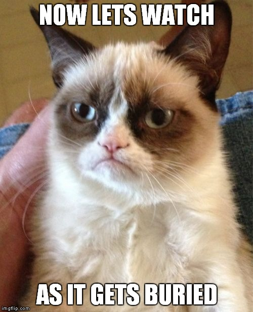 Grumpy Cat Meme | NOW LETS WATCH AS IT GETS BURIED | image tagged in memes,grumpy cat | made w/ Imgflip meme maker