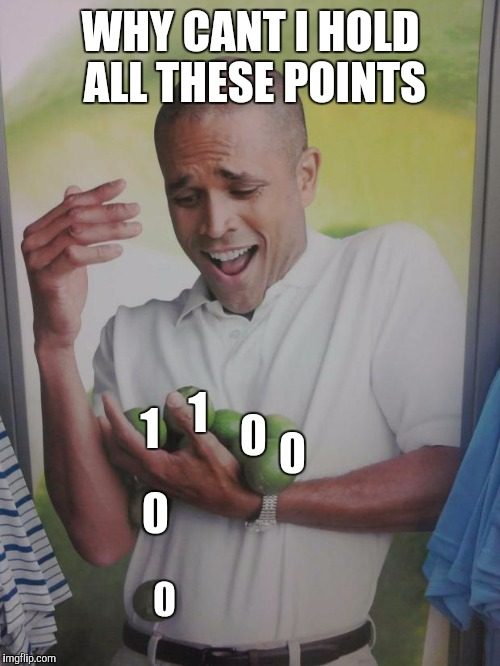 WHY CANT I HOLD ALL THESE POINTS 0 1 0 0 1 0 | made w/ Imgflip meme maker