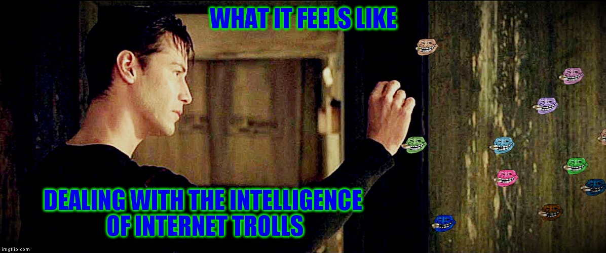 Oh wait I was supposed to get mad right bro... | WHAT IT FEELS LIKE DEALING WITH THE INTELLIGENCE OF INTERNET TROLLS | image tagged in trolls,neo,welcome to the matrix,really | made w/ Imgflip meme maker