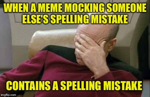 Captain Picard Facepalm Meme | WHEN A MEME MOCKING SOMEONE ELSE'S SPELLING MISTAKE CONTAINS A SPELLING MISTAKE | image tagged in memes,captain picard facepalm | made w/ Imgflip meme maker