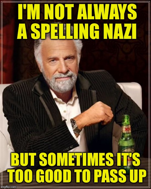 The Most Interesting Man In The World Meme | I'M NOT ALWAYS A SPELLING NAZI BUT SOMETIMES IT'S TOO GOOD TO PASS UP | image tagged in memes,the most interesting man in the world | made w/ Imgflip meme maker