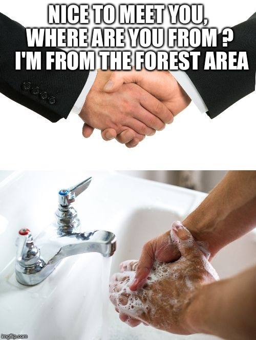 handshake washing hand |  NICE TO MEET YOU, WHERE ARE YOU FROM ?  I'M FROM THE FOREST AREA | image tagged in handshake washing hand | made w/ Imgflip meme maker
