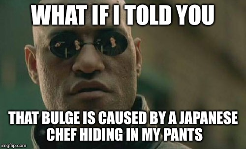 Matrix Morpheus Meme | WHAT IF I TOLD YOU THAT BULGE IS CAUSED BY A JAPANESE CHEF HIDING IN MY PANTS | image tagged in memes,matrix morpheus | made w/ Imgflip meme maker