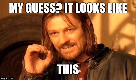 One Does Not Simply Meme | MY GUESS? IT LOOKS LIKE THIS | image tagged in memes,one does not simply | made w/ Imgflip meme maker