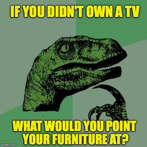 Philosoraptor Meme | IF YOU DIDN'T OWN A TV WHAT WOULD YOU POINT YOUR FURNITURE AT? | image tagged in memes,philosoraptor,tv | made w/ Imgflip meme maker