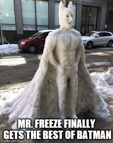 This is better than the Joel Schumacher version | MR. FREEZE FINALLY GETS THE BEST OF BATMAN | image tagged in batman,snowstorm | made w/ Imgflip meme maker