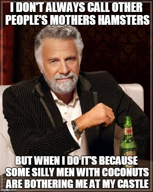 The Most Interesting Man In The World Meme | I DON'T ALWAYS CALL OTHER PEOPLE'S MOTHERS HAMSTERS BUT WHEN I DO IT'S BECAUSE SOME SILLY MEN WITH COCONUTS ARE BOTHERING ME AT MY CASTLE | image tagged in memes,the most interesting man in the world | made w/ Imgflip meme maker