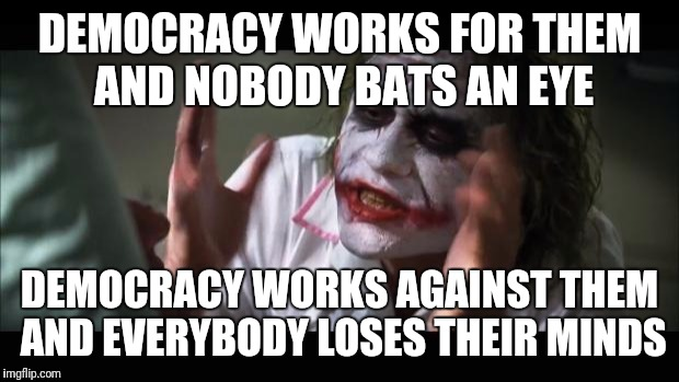 Voters be like | DEMOCRACY WORKS FOR THEM AND NOBODY BATS AN EYE DEMOCRACY WORKS AGAINST THEM AND EVERYBODY LOSES THEIR MINDS | image tagged in memes,and everybody loses their minds | made w/ Imgflip meme maker