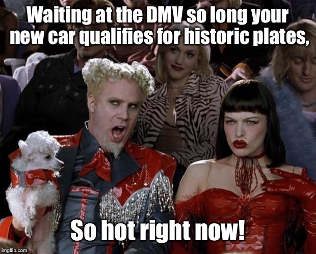 And in MO that's 21 years for an historic car license. | Waiting at the DMV so long your new car qualifies for historic plates, So hot right now! | image tagged in memes,mugatu so hot right now,dmv,long wait,historic plates,new car | made w/ Imgflip meme maker