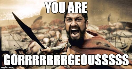 Sparta Leonidas Meme | YOU ARE GORRRRRRRGEOUSSSSS | image tagged in memes,sparta leonidas | made w/ Imgflip meme maker