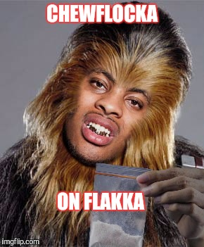 CHEWFLOCKA | CHEWFLOCKA ON FLAKKA | image tagged in chewbacca,drugs are bad,funny | made w/ Imgflip meme maker