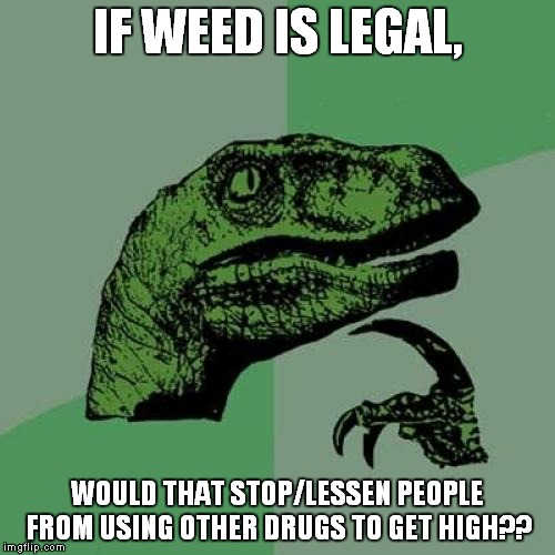 Philosoraptor Meme | IF WEED IS LEGAL, WOULD THAT STOP/LESSEN PEOPLE FROM USING OTHER DRUGS TO GET HIGH?? | image tagged in memes,philosoraptor | made w/ Imgflip meme maker