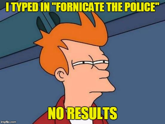 "Futurama Fry Meme | I TYPED IN ""FORNICATE THE POLICE"" NO RESULTS 