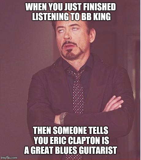 That face you make  | WHEN YOU JUST FINISHED LISTENING TO BB KING THEN SOMEONE TELLS YOU ERIC CLAPTON IS A GREAT BLUES GUITARIST | image tagged in memes,face you make robert downey jr | made w/ Imgflip meme maker