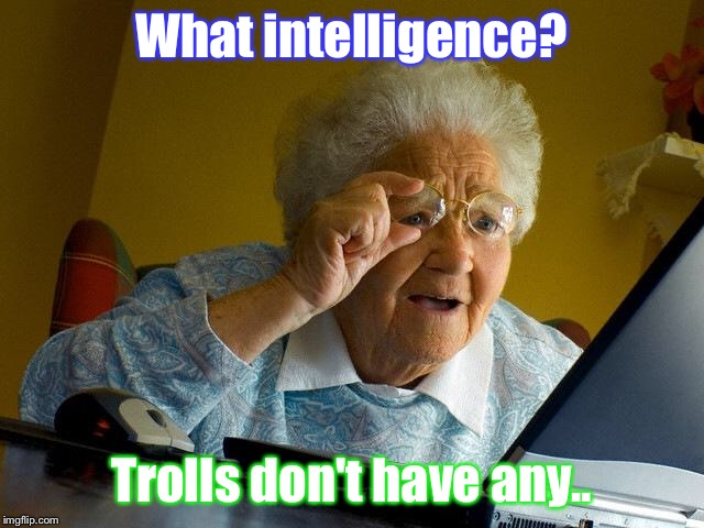 Grandma Finds The Internet Meme | What intelligence? Trolls don't have any.. | image tagged in memes,grandma finds the internet | made w/ Imgflip meme maker