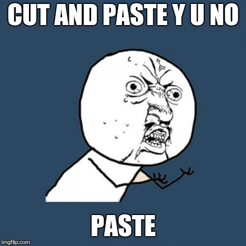 Y U No Meme | CUT AND PASTE Y U NO PASTE | image tagged in memes,y u no | made w/ Imgflip meme maker