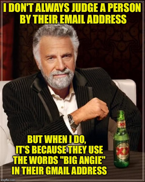 "The Most Interesting Man In The World Meme | I DON'T ALWAYS JUDGE A PERSON BY THEIR EMAIL ADDRESS BUT WHEN I DO,   IT'S BECAUSE THEY USE THE WORDS ""BIG ANGIE"" IN THEIR GMAIL ADDRESS 