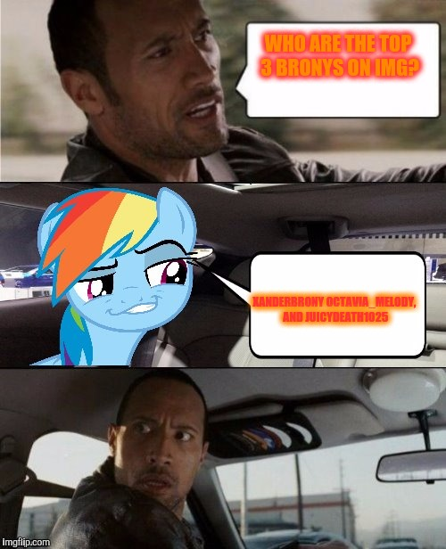 I did a vote to find out who the top 4 where. But there was lots of ties so I just did top 3. Brohoof! | WHO ARE THE TOP 3 BRONYS ON IMG? XANDERBRONY OCTAVIA_MELODY, AND JUICYDEATH1025 | image tagged in the rock driving mlp,vote,brony,contest | made w/ Imgflip meme maker