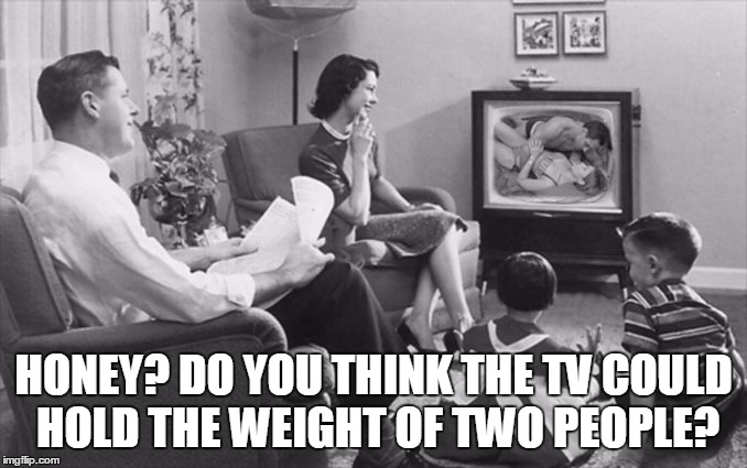 HONEY? DO YOU THINK THE TV COULD HOLD THE WEIGHT OF TWO PEOPLE? | made w/ Imgflip meme maker