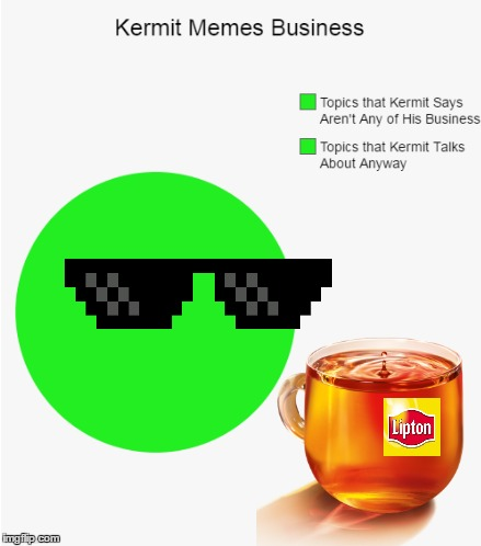 I don't know if this is a pie chart or a meme, but that's none of my business :) | Topics that Kermit Says Aren't Any of His Business Topics that Kermit Talks About Anyway | image tagged in memes,pie charts,memestrocity,kermit,but thats none of my business,deal with it | made w/ Imgflip meme maker